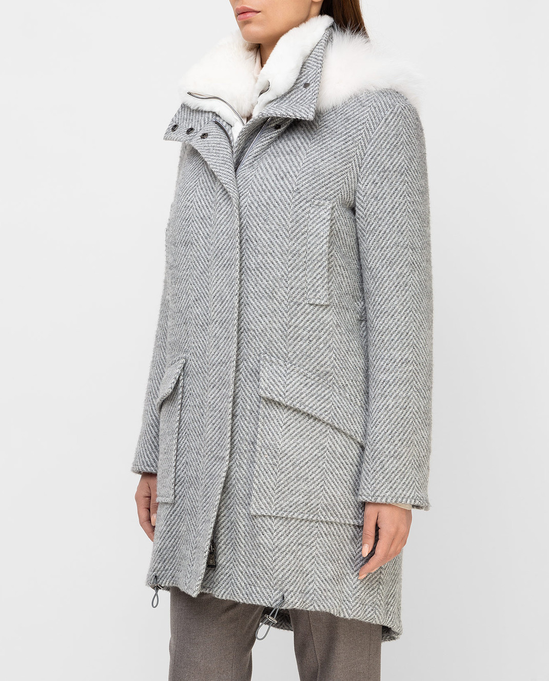 Giuliana Teso Серая парка из шерсти и альпаки с мехом лисы 84QS590 изображение 3