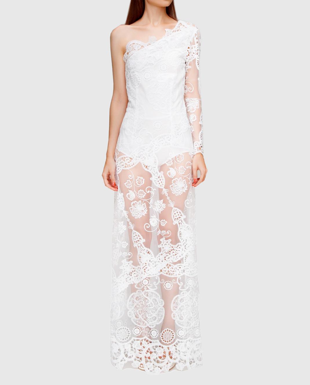 Charo Ruiz Белое платье с кружевом 00354 изображение 2