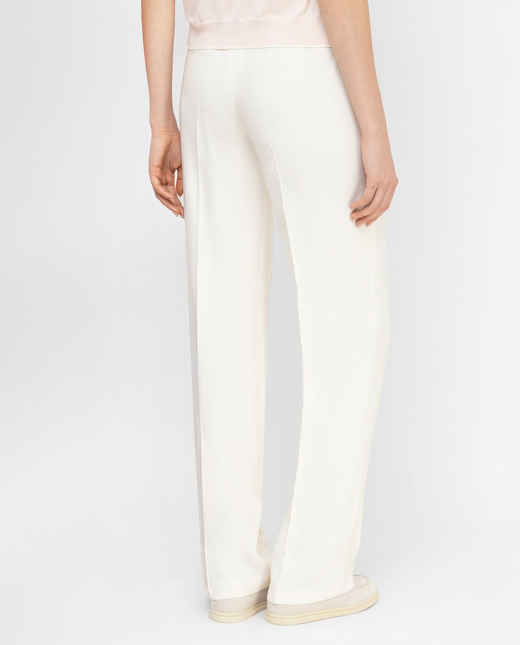 Loro Piana Светло-бежевые брюки из шелка и шерсти F1FAI5226 изображение 4