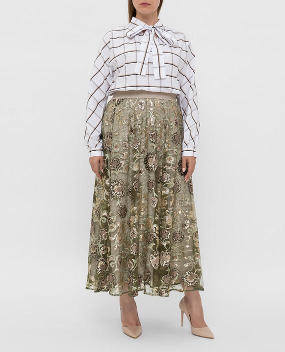 Зеленая юбка с пайетками hover