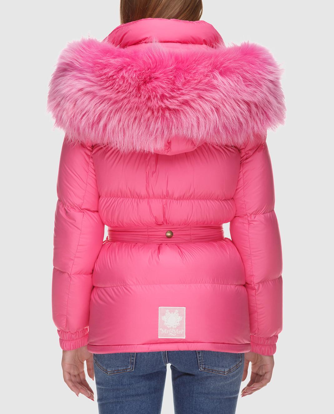 Mr&Mrs Italy Розовый пуховик с мехом уссурийского енота OV055 изображение 4