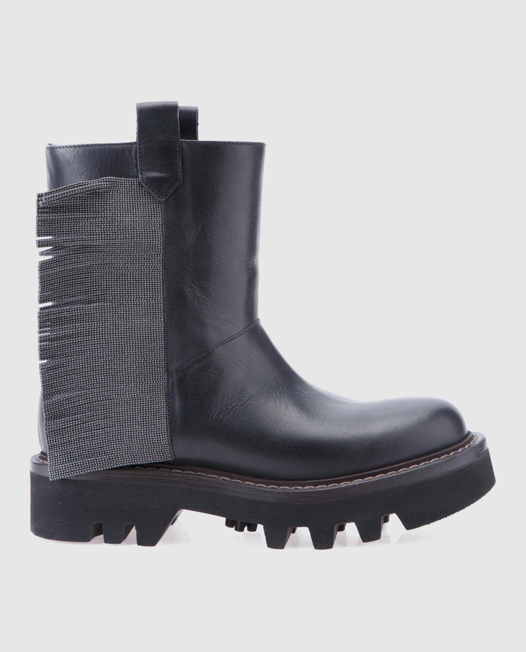 Brunello Cucinelli Черные кожаные сапоги MZFLG1009