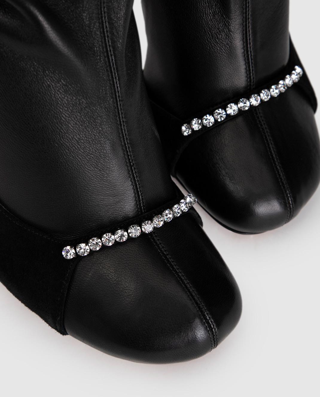 Valentino Черные кожаные ботфорты QW0S0I91PQM изображение 5