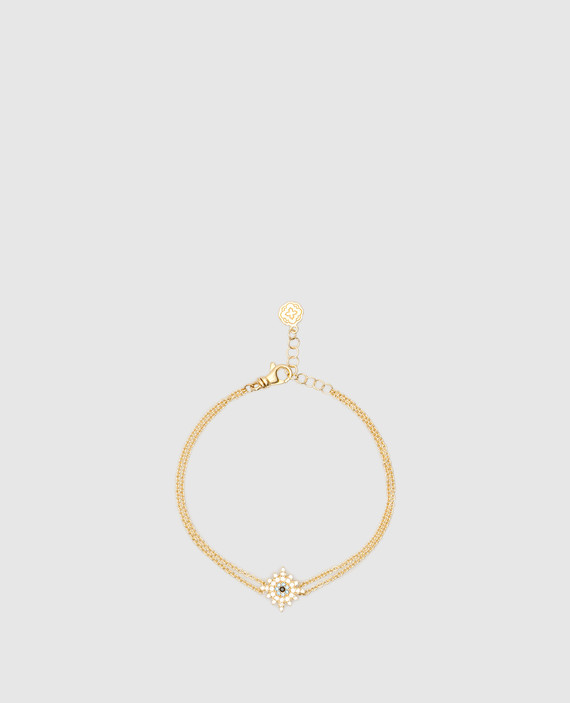Золотистый браслет из латуни с кристаллами