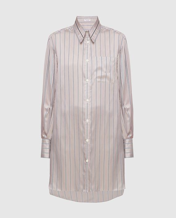 Серая блуза из шелка