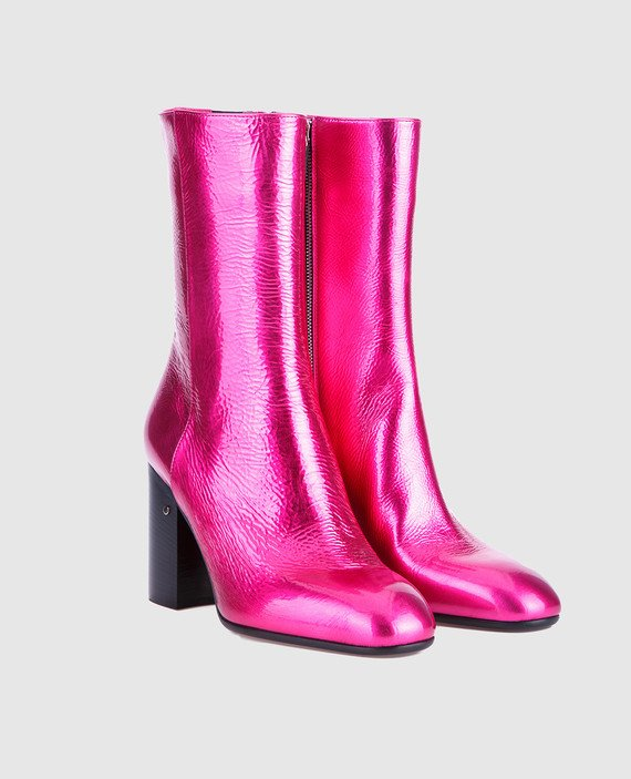 Розовые кожаные ботильоны hover