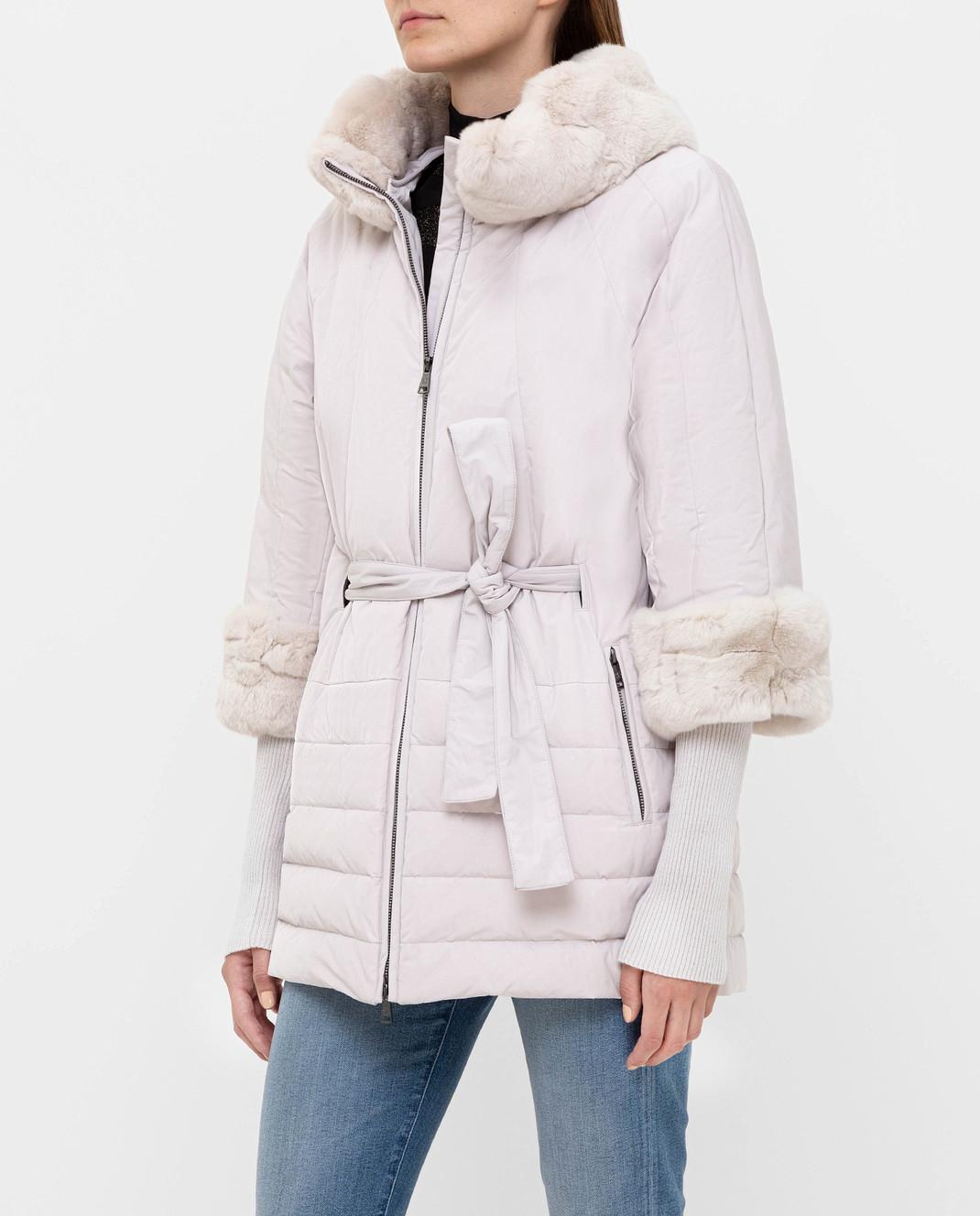 Florence Mode Светло-серый пуховик с мехом кролика изображение 3