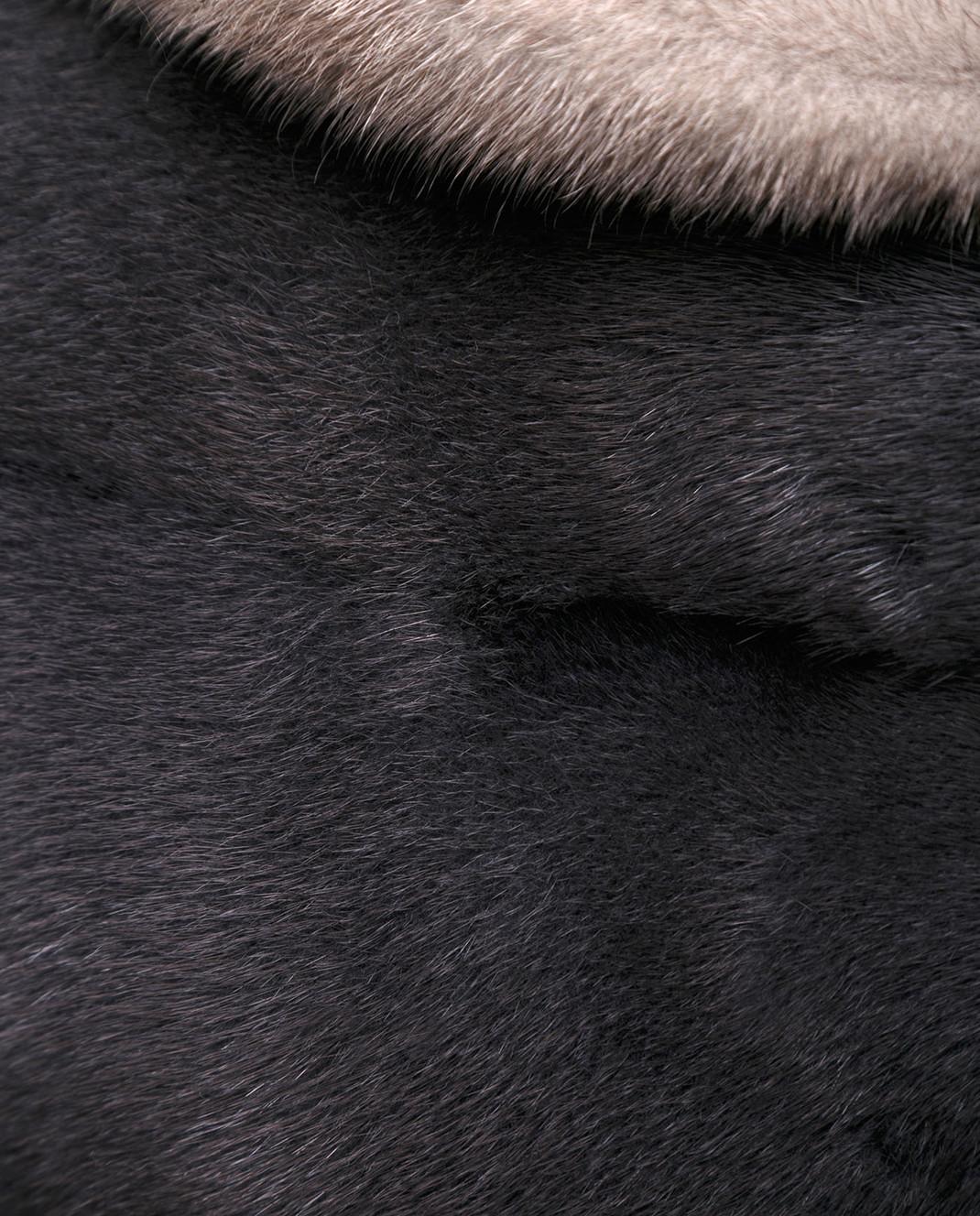 Florence Mode Темно-серая шуба из меха норки с поясом L1827SKYFALL изображение 5
