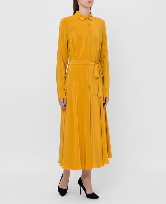 Горчичное платье из шелка hover