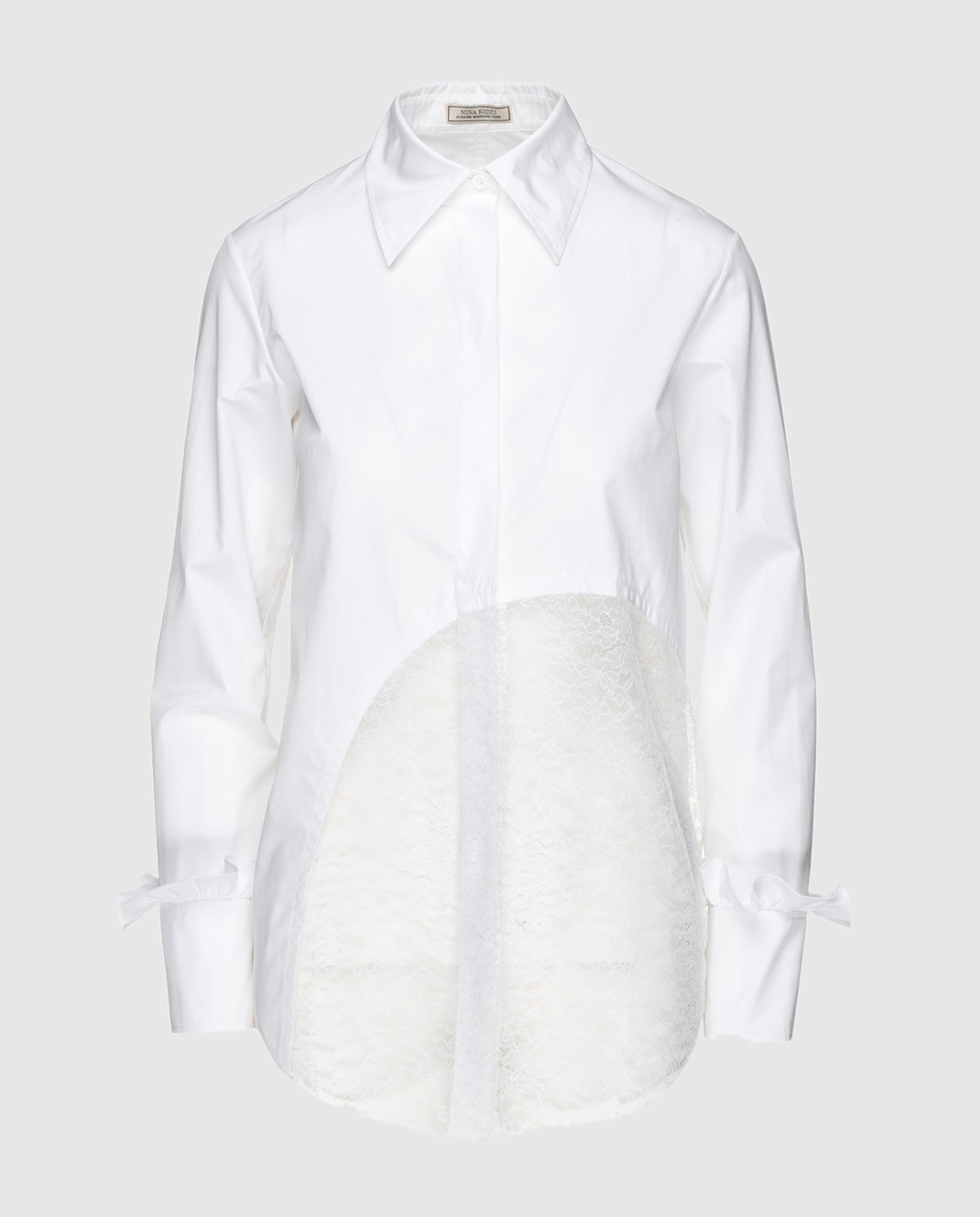 NINA RICCI Белая рубашка с кружевом 17ACT0027C00844