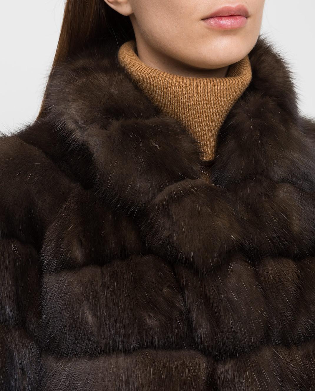 Real Furs House Темно-коричневая шуба из соболя 24342SILVERY изображение 5