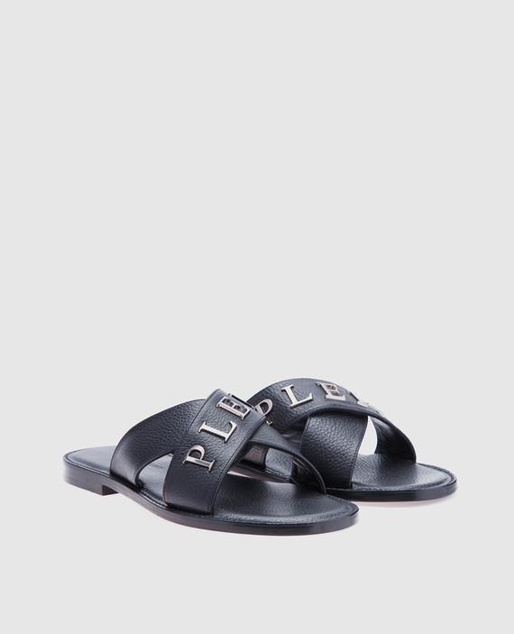 Черные кожаные слайдеры Briant hover