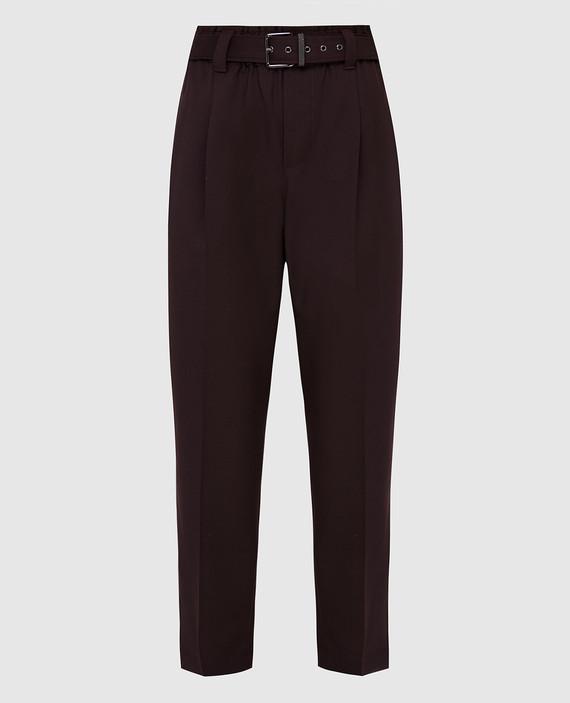 Бордовые брюки из шерсти