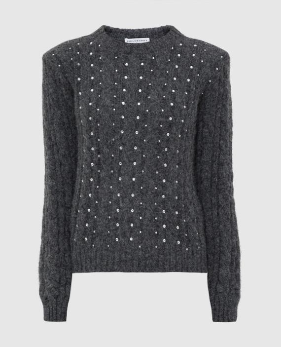 Серый свитер с кристаллами