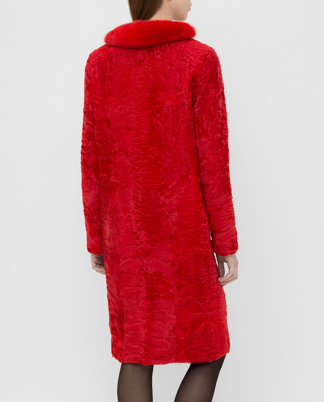 Giambattista Valli Красная шуба из персидского ягненка с воротником из меха норки GBE45A00CPP0365 изображение 4