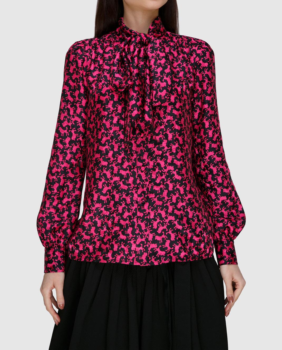 Marc Jacobs Малиновая блуза из шелка изображение 3