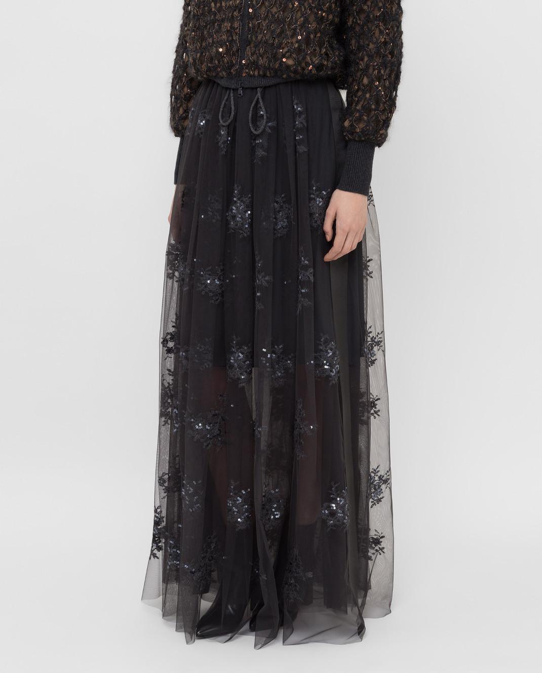 Brunello Cucinelli Темно-серая юбка MA960G2739 изображение 3