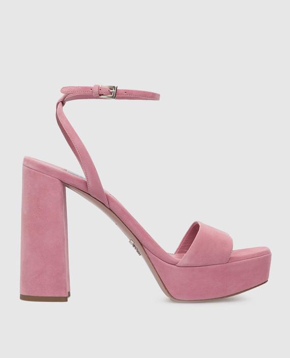 Розовые замшевые босоножки