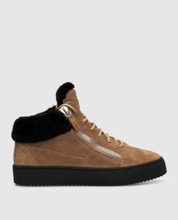 Бежевые замшевые ботинки
