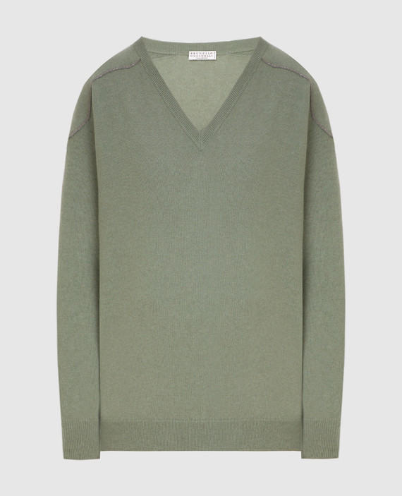 Зеленый пуловер из кашемира