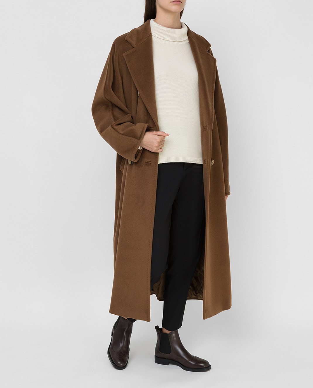Max Mara Темно-бежевое пальто из шерсти и кашемира изображение 2