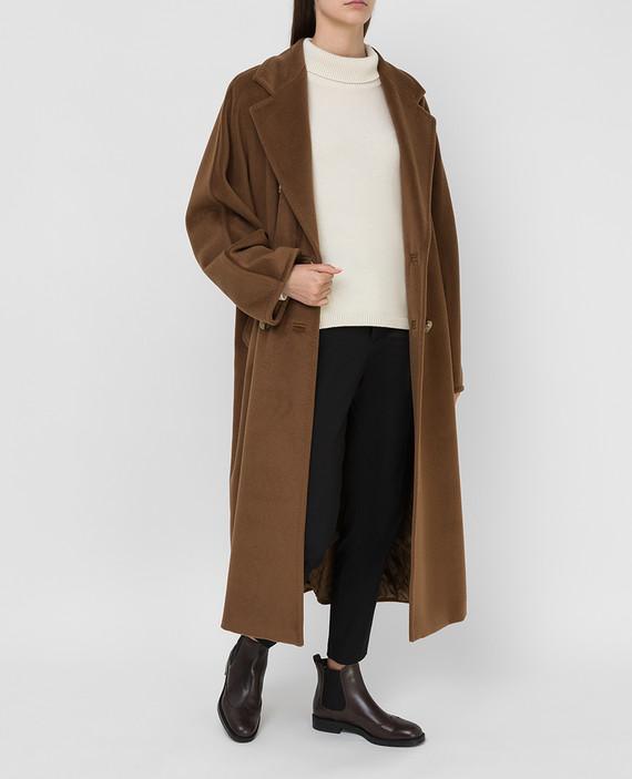 Темно-бежевое пальто из шерсти и кашемира hover