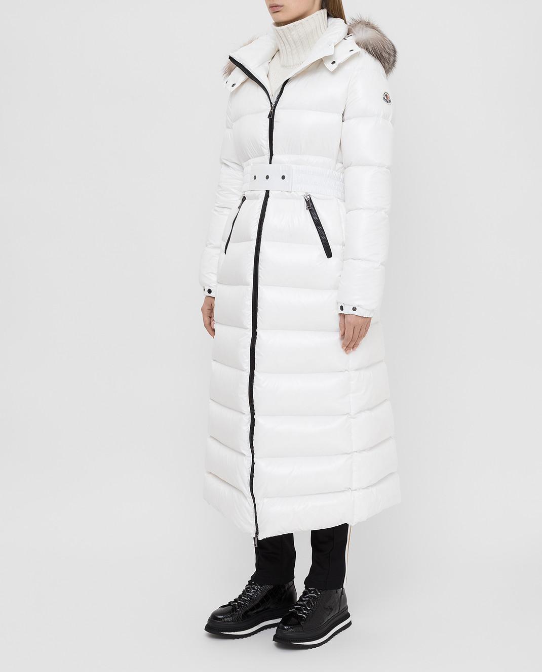 Moncler Белый пуховик с мехом лисы 4984525C0065 изображение 3