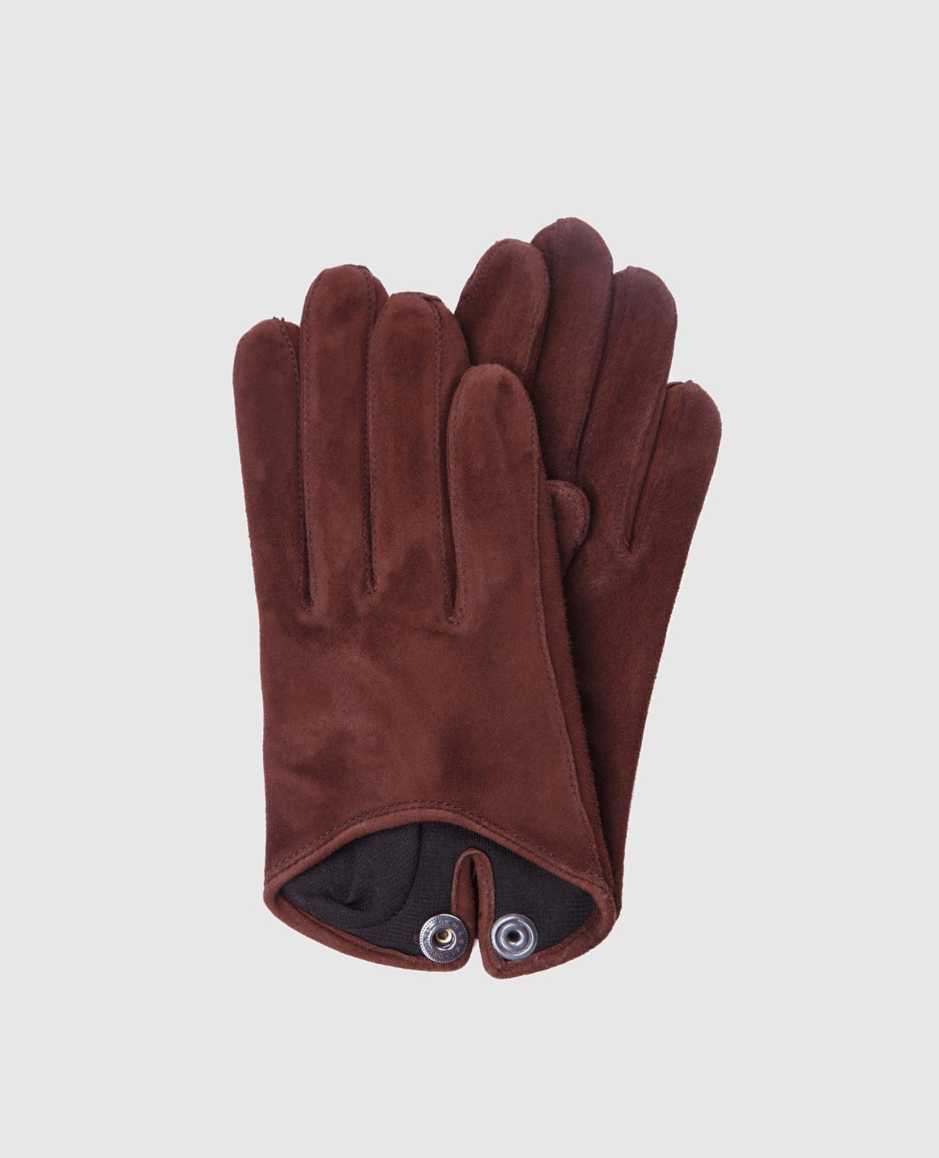 Коричневые замшевые перчатки