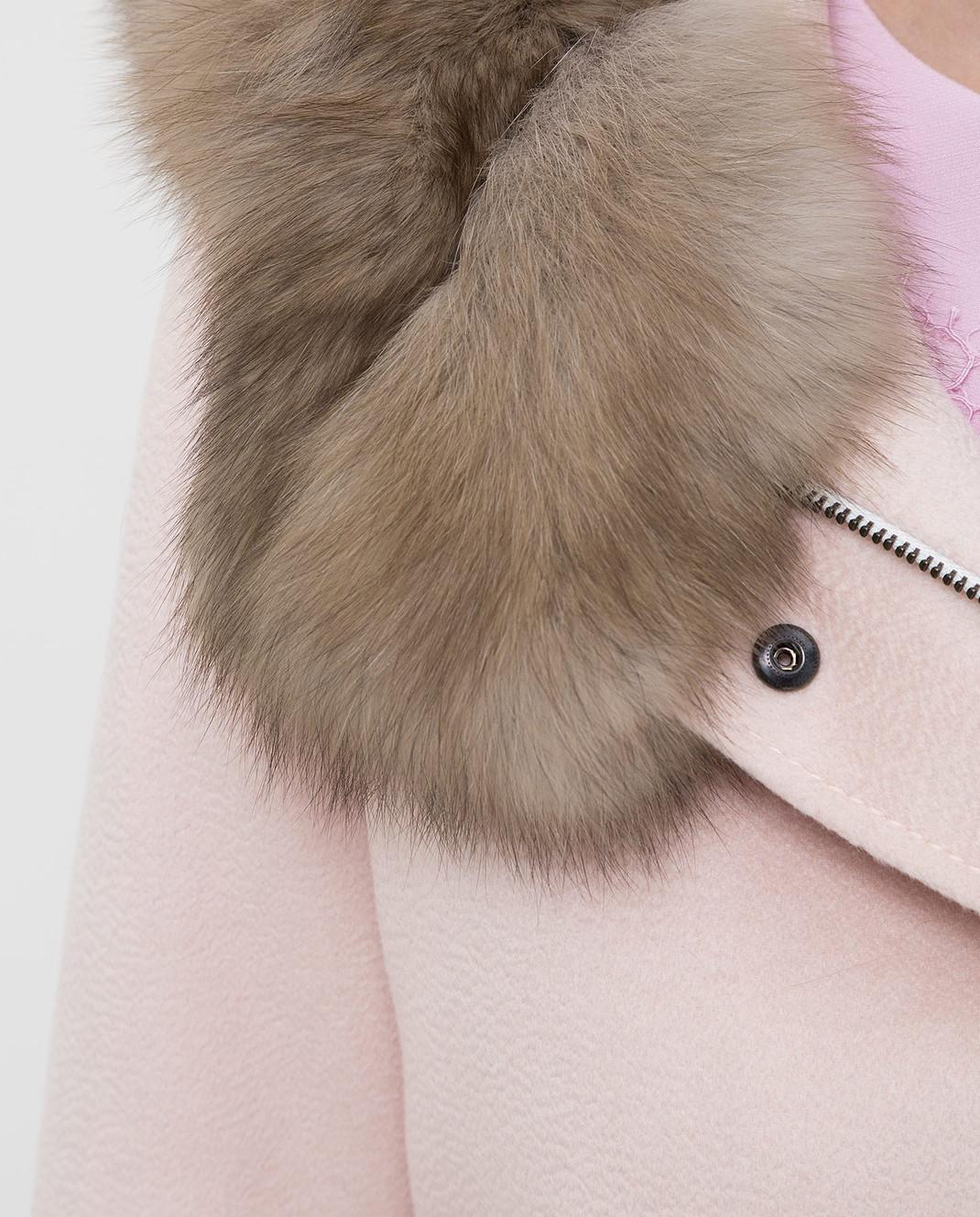 Real Furs House Светло-розовая парка из кашемира с мехом соболя изображение 5