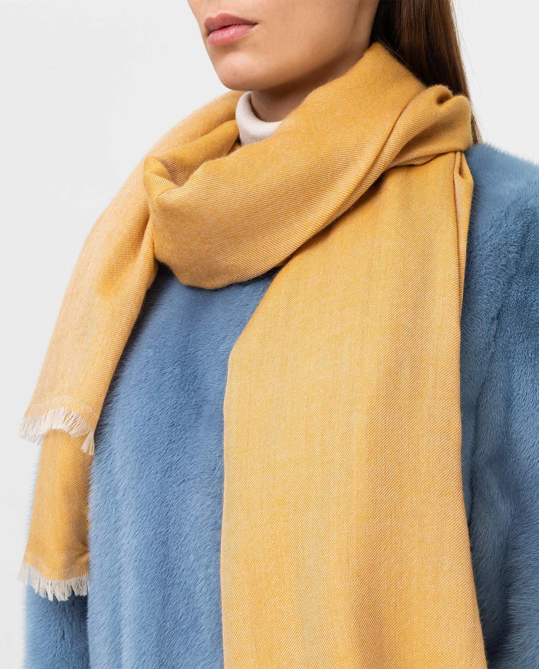 Bertolo Cashmere Желтый шарф из кашемира и шелка 000238 изображение 2