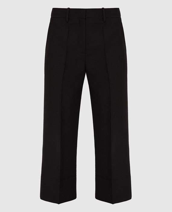 Черные брюки из шерсти и шелка