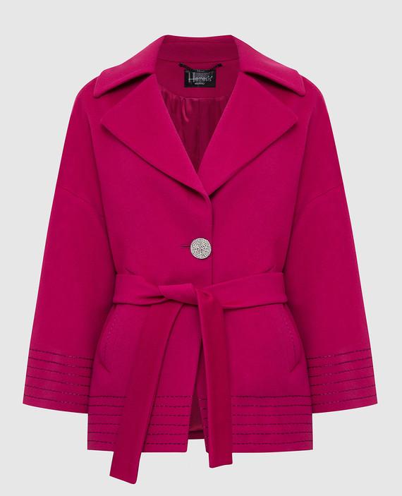 Розовое пальто из шерсти