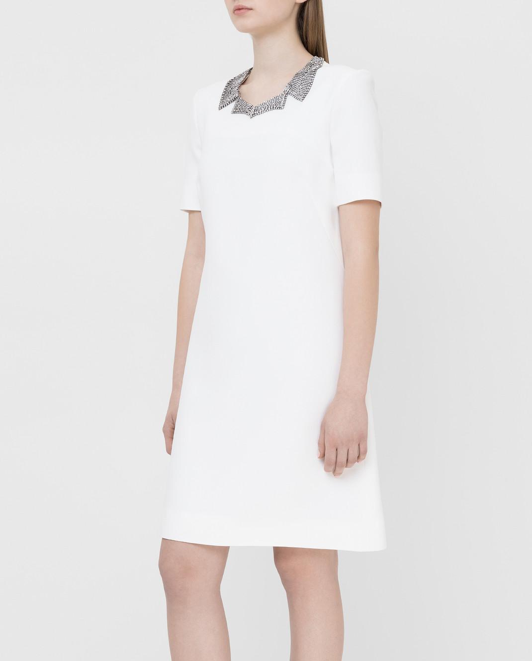 Ermanno Scervino Белое платье с кристаллами D362Q366UKF изображение 3