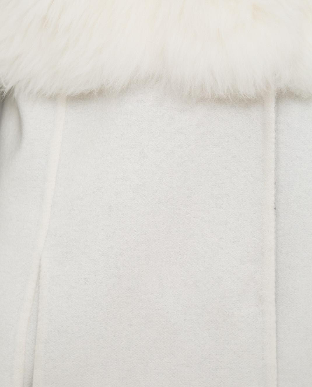 Rindi Светло-бежевое пальто из кашемира с мехом 426OR0R6BIANCO изображение 5
