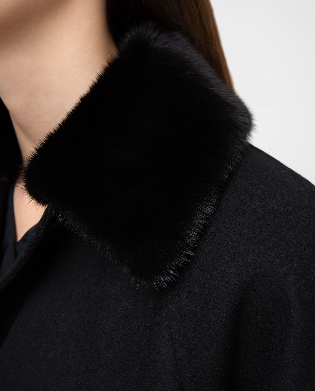 Valentino Черное пальто из шерсти с мехом норки QB3CA2Q51CJ изображение 5