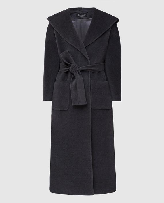 Серое пальто из шерсти и кашемира
