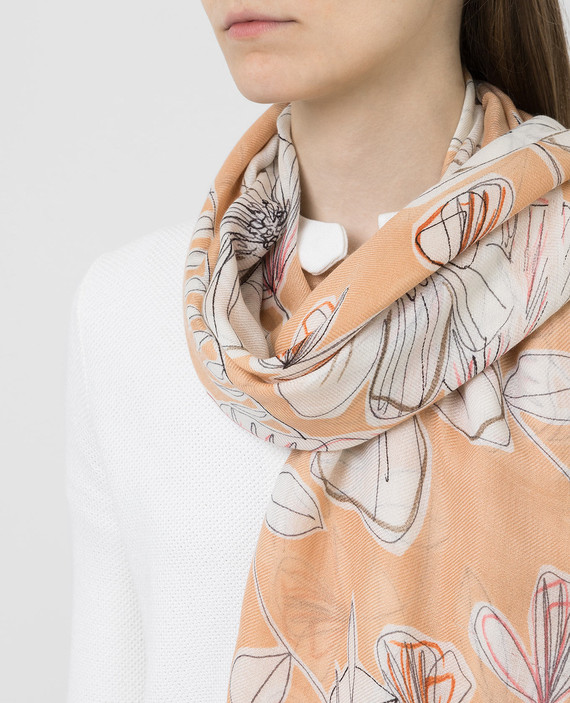 Бежевый платок из кашемира и шелка hover