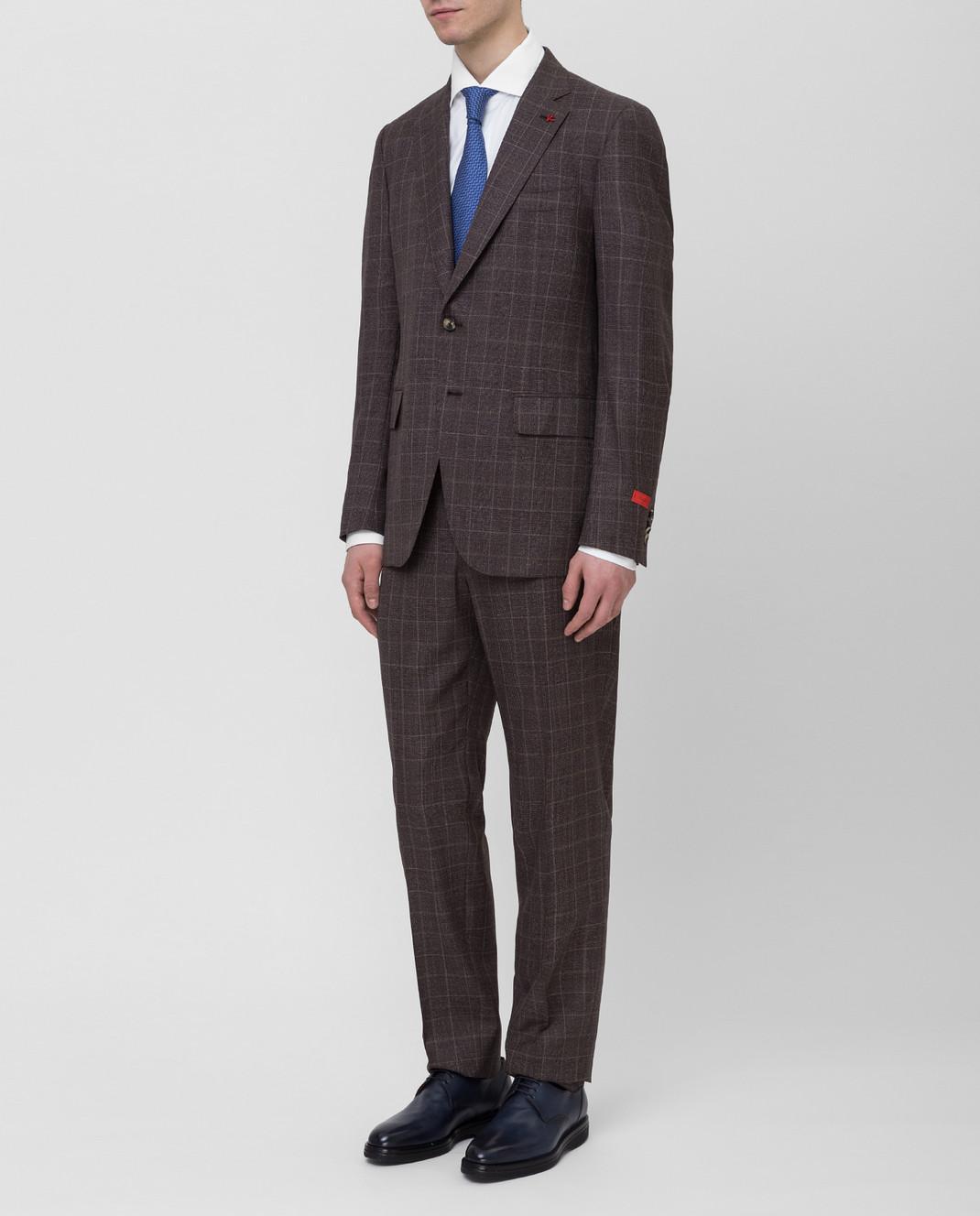 ISAIA Коричневый костюм 224AFI8504X изображение 3