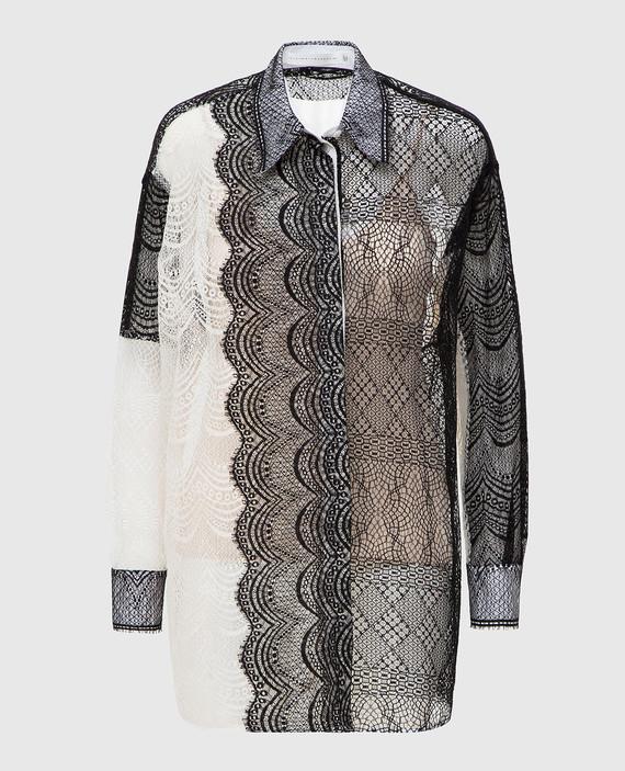 Светло-бежевая блуза с кружевом