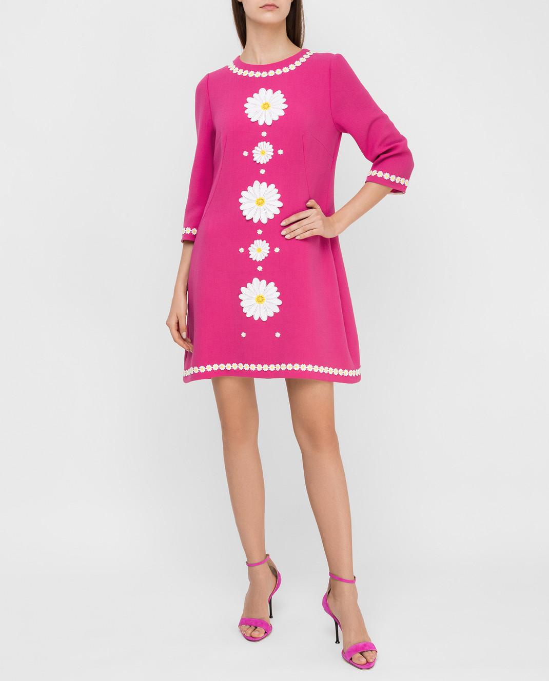 Dolce&Gabbana Розовое платье из шерсти F6UM4ZFU2TZ изображение 2