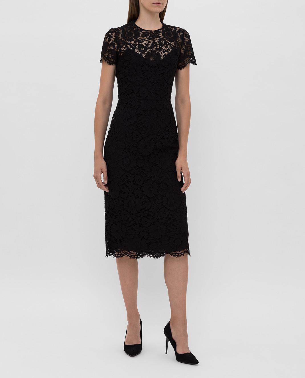 Valentino Черное платье из кружева SB3VABP51EC изображение 2