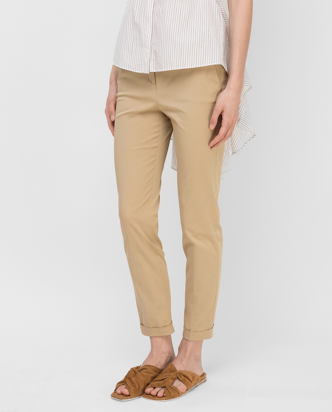 Loro Piana Бежевые брюки F1FAI1447 изображение 3