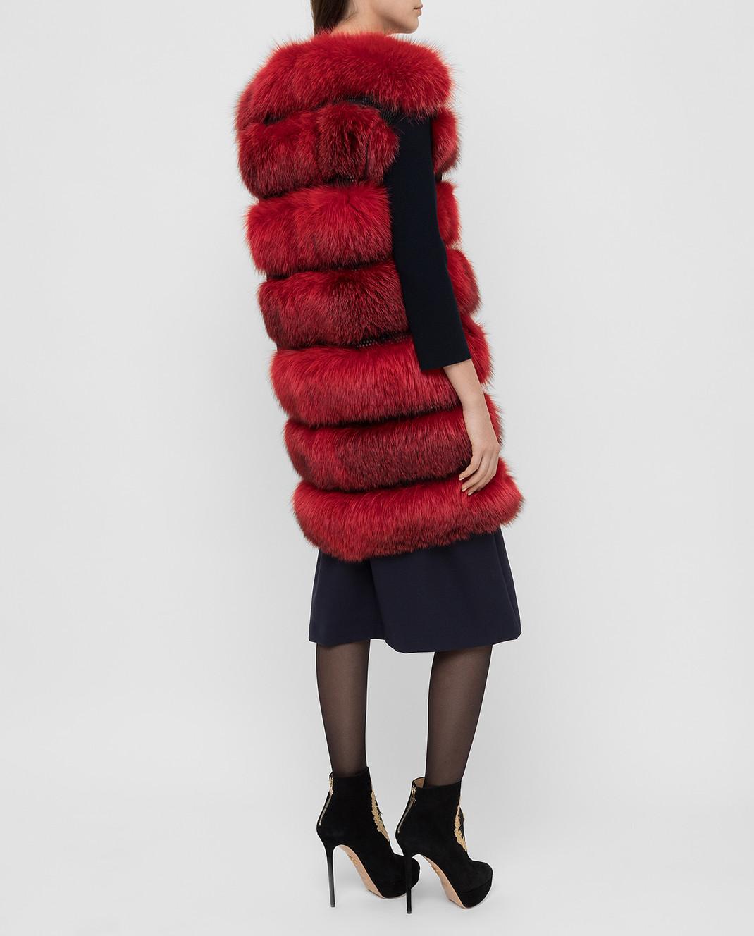 Florence Mode Красный жилет из меха лисы L1459BISV изображение 4