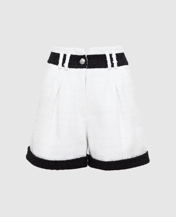 Белые твидовые шорты