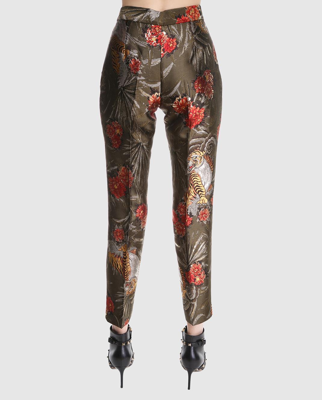 PAROSH Оливковые жаккардовые брюки D230049 изображение 4