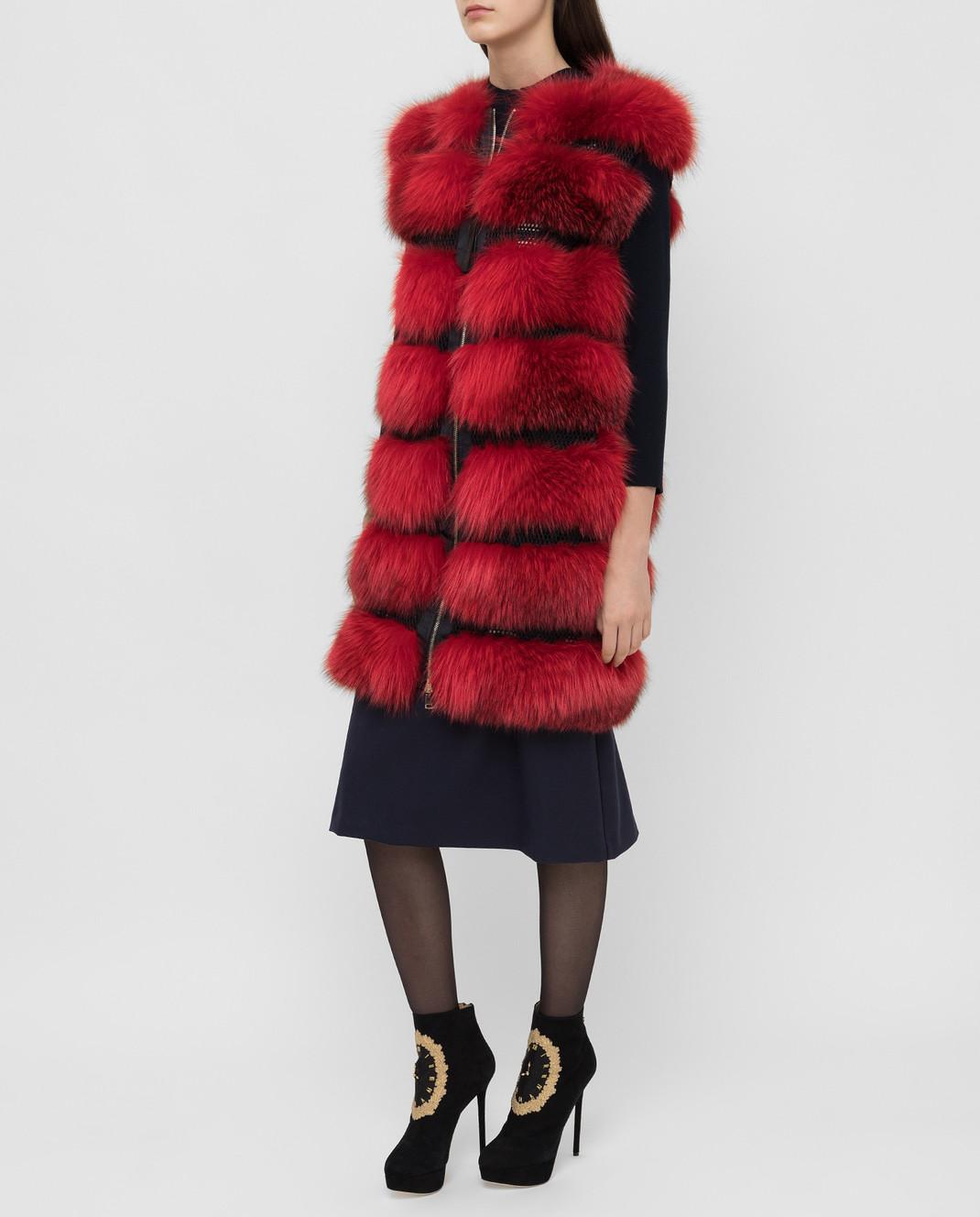 Florence Mode Красный жилет из меха лисы L1459BISV изображение 3