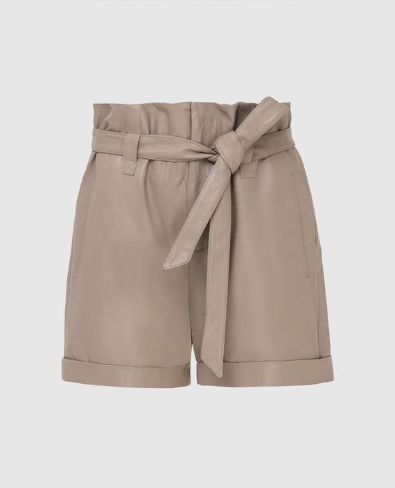 Бежевые кожаные шорты