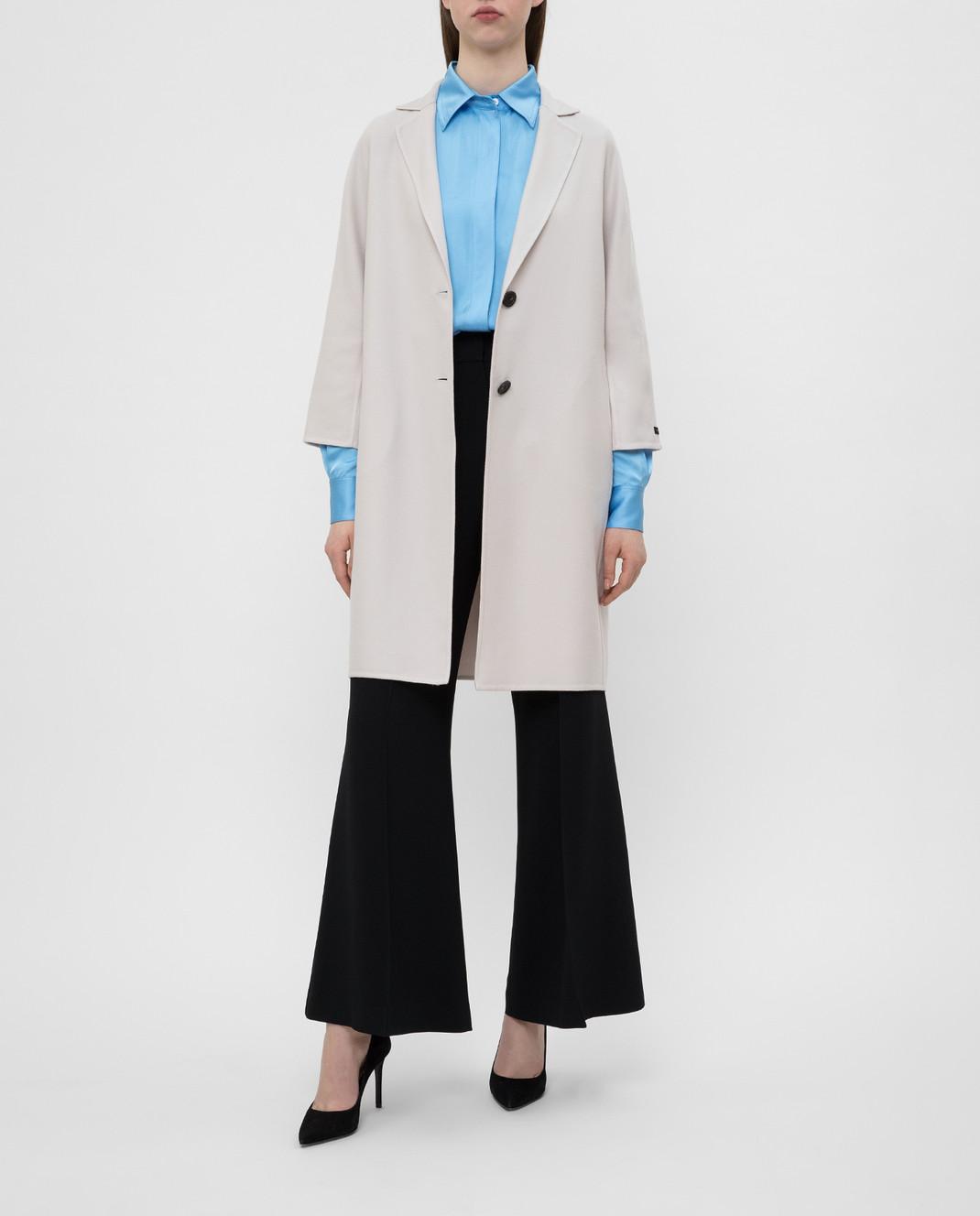 Peserico Светло-бежевое пальто из кашемира и шерсти S20493E изображение 2