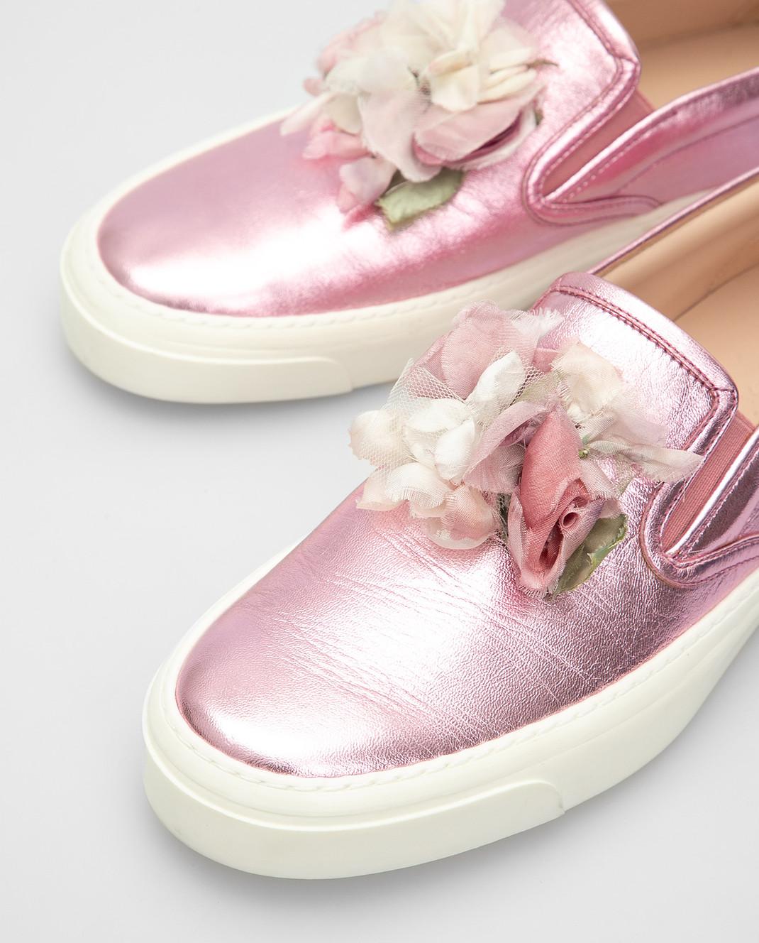 Gucci Розовые кожаные слипоны 414990 изображение 5