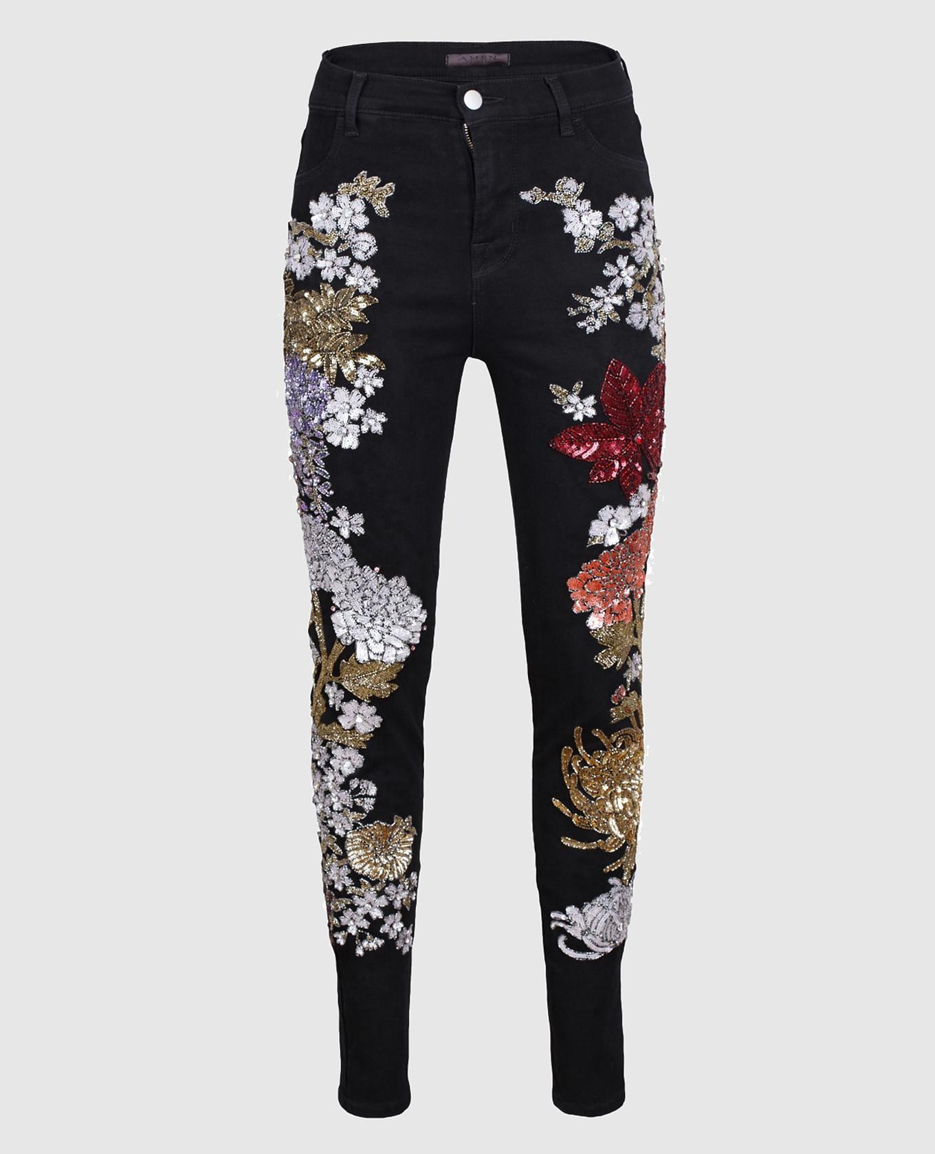 Черные джинсы с пайетками